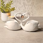 Art & Artifact Two Piece Loving Swans - Intertwined Bird Pair Heart Sculpture, Home Decor Accent, Centerpiece