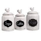 Home Essentials 3 PC Rooster Canisters - Set of 3 Farmhouse Ceramic Chalkboard Label Kitchen Countertop Food Storage Jars - Ivory