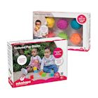 Edushape Baby Blocks & Sensory Ball Set - 10 Colorful 3D Interlocking Stacking Blocks and 6 Textured Tactile Balls, BPA Free Soft Activity Baby Toys