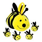 Etna Plush Buzzing Bees Toy - Cute Soft Mommy Bee Carrier Holds 4 Baby Bee Dolls, Squeeze Activated Sounds