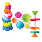 Fat Brain Tobbles, Mini Spinny, Dimpl Toy Bundle - 9-Piece Combo Spinner, Fidget Popper and Stacking Baby Toy Activity Set