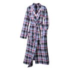 Metropolitan Womens Plaid Flannel Robe - Lightweight Shawl Collar Bathrobe