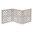 "Home District Freestanding Pet Gate Real Wood 3-Panel Tri Fold Folding Dog Fence - White Lattice Design, 47"" x 19"""