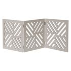 "Home District Freestanding Pet Gate Real Wood 3-Panel Tri Fold Folding Dog Fence - White Lattice Design, 53"" x 24"""
