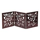"ETNA Freestanding Wood Pet Gate - Leaf Design 3-Panel Tri Fold Dog Fence for Doorways, Stairs - Indoor/Outdoor Pet Barrier - Brown 48""W x 19"" Tall"