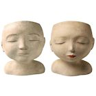 """Art & Artifact Man and Woman Head Planters - Set of 2 Handpainted Resin Indoor/Outdoor Flower Pot - Plants Look Like Hair, 9"""" Tall"""
