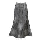 Catalog Classics Women's Denim Skirt, Flared A-Line Patchwork Stitched Mid-Calf