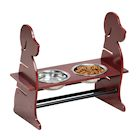 Etna Adjustable Height Pet Feeder -Wooden Dog Silhouette Raised Dog Bowl Holder, Mahogany Finish, Includes 2 Removable Metal Pet Food and Water Dishes
