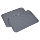 "Great Working Tools Boot Trays - Set of 2 Gray All Weather Heavy Duty Shoe Trays, Pet Bowl Mats Trap Mud, Water and Food Mess to Protect Floors - Gray, 23.75"" x 15.5"" x 1.25"""