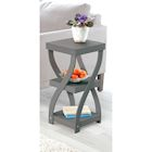 """ETNA Twist Side End Table Modern Accent Table Nightstand with Distressed Finish, Wood, 24"""" High - Gray"""