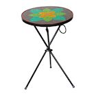 """Art & Artifact Glass Mosaic Patio Table, Indoor Outdoor Folding Accent Table Cafe Table, 21"""" High 14"""" Round"""