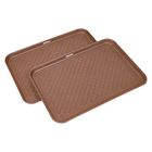 "Great Working Tools Boot Trays - Set of 2 Brown All Weather Heavy Duty Shoe Trays, Pet Bowl Mats Trap Mud, Water and Food Mess to Protect Floors - Brown, 23.75"" x 15.5"" x 1.25"""
