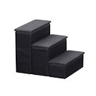 ETNA 3-Step Pet Steps with Storage Fold Away Pet Stairs for Dogs Cats Fabric Upholstered Padded Tops