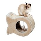Etna Fish Shaped Kitty Condo - Plush Sisal Cat Scratching Post with Hanging Toy, Napping Cave Bed