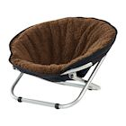 Etna Folding Pet Cot Chair - Portable Round Fold Out Elevated Cat Bed - Brown Fleece Top Cushion - Papasan Chair for Small Dogs