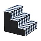 ETNA 3-Step Pet Steps with Storage Fold Away Pet Stairs for Dogs Cats Fabric Upholstered Padded Tops - Plaid