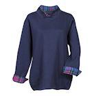 Metropolitan Women's 1/4 Button Up Top - Pullover Sweatshirt, Plaid Print Lined