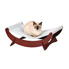 Etna Cat Bed Pet Hammock - Small Dog Wood Frame Lounger with Washable Fleece Cover, Mahogany Finish