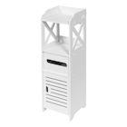 Etna Bathroom Storage Cabinet Tower - Freestanding Restroom Organizer Rack, White Bath Room Shelf Unit with Tissue Holder
