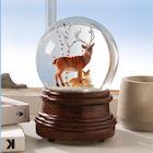 ART & ARTIFACT Woodland Deer Family Snow Globe - Wind-up Musical Waterglobe Plays Ode To Joy Tune