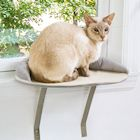 Etna Window Mount Cat Perch - Small Pet Window Seat Cat Ledge, Gray Padded Cat Bed Sill, Removable Washable Cover, Holds 20-35 Pound Animals