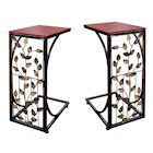 Etna C-Shaped Side Tables Set of 2 Sofa Side Tables with Metal Leaf Design Base & Wood Look Top TV Tray