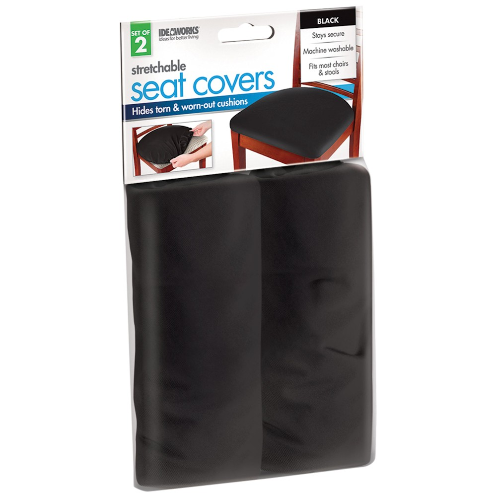 Elastic Seat Chair Covers Set Of 2 Black Fits Most