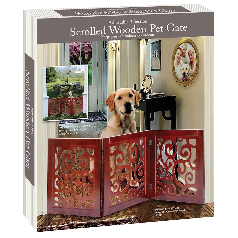 scroll design pet child gate free standing tri fold 20 5 tall