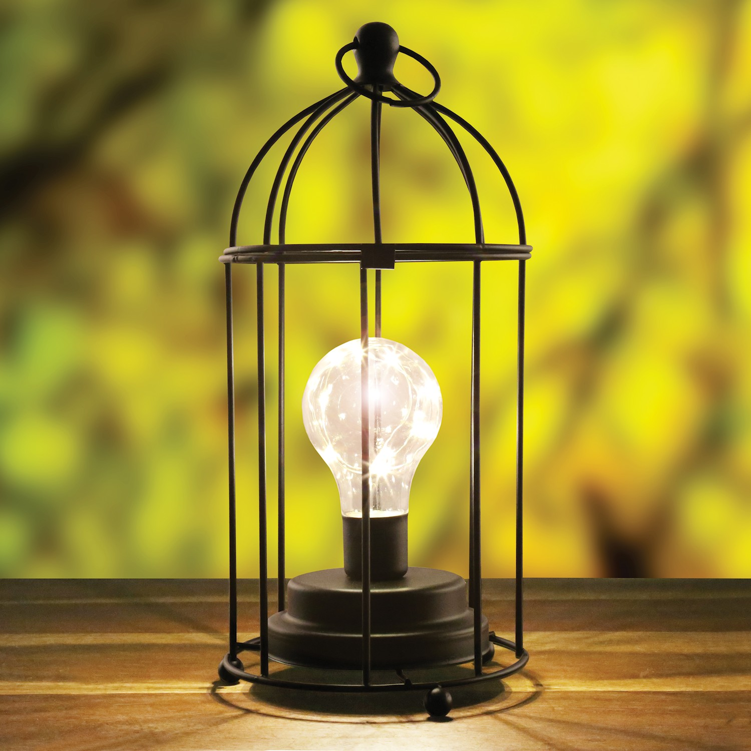 Circleware Black Metal Lamp Cordless Accent Light With
