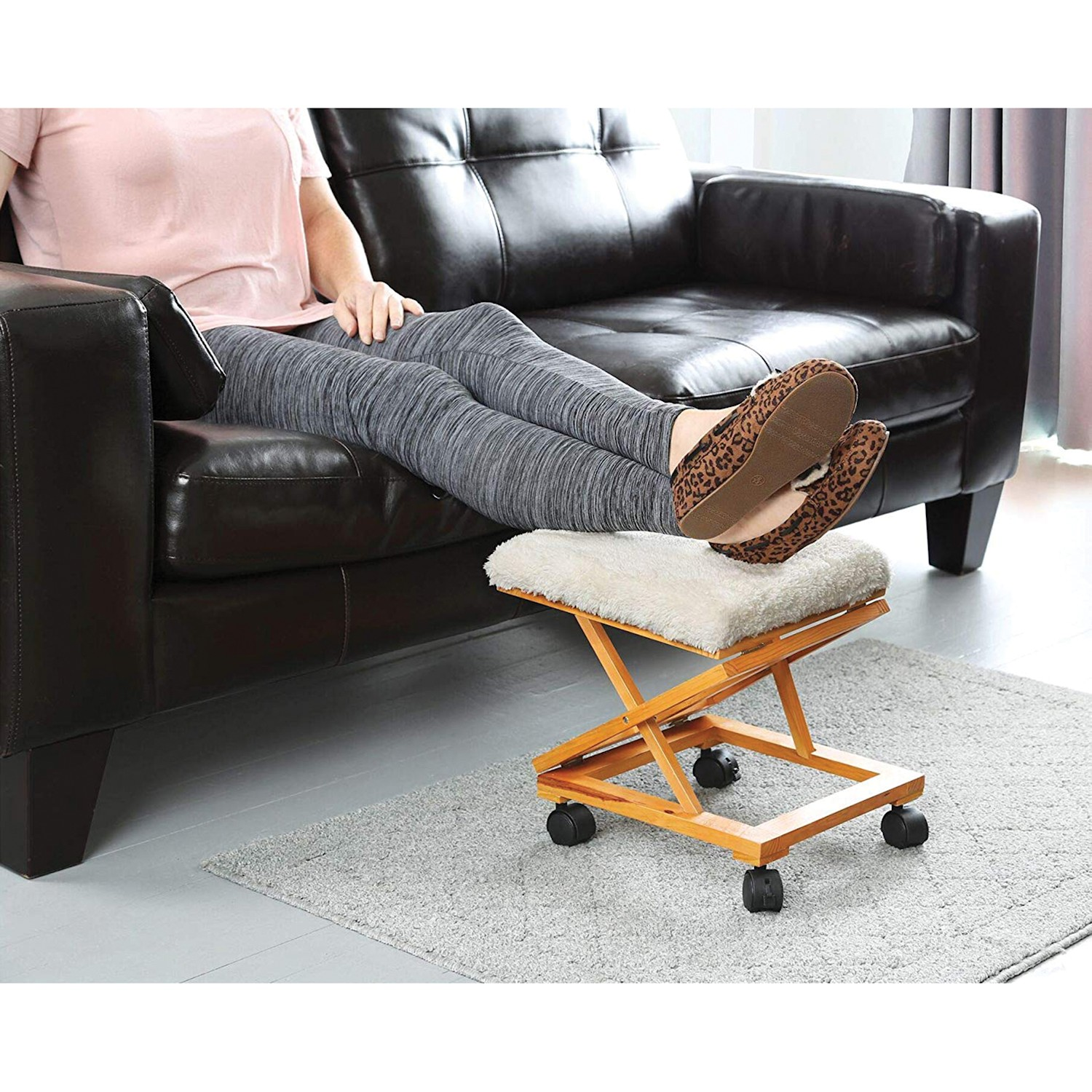 Brilliant Details About Etna Sherpa Top Foot Rest Rolling Collapsible Cushioned Foot Stool Ottoman Dailytribune Chair Design For Home Dailytribuneorg